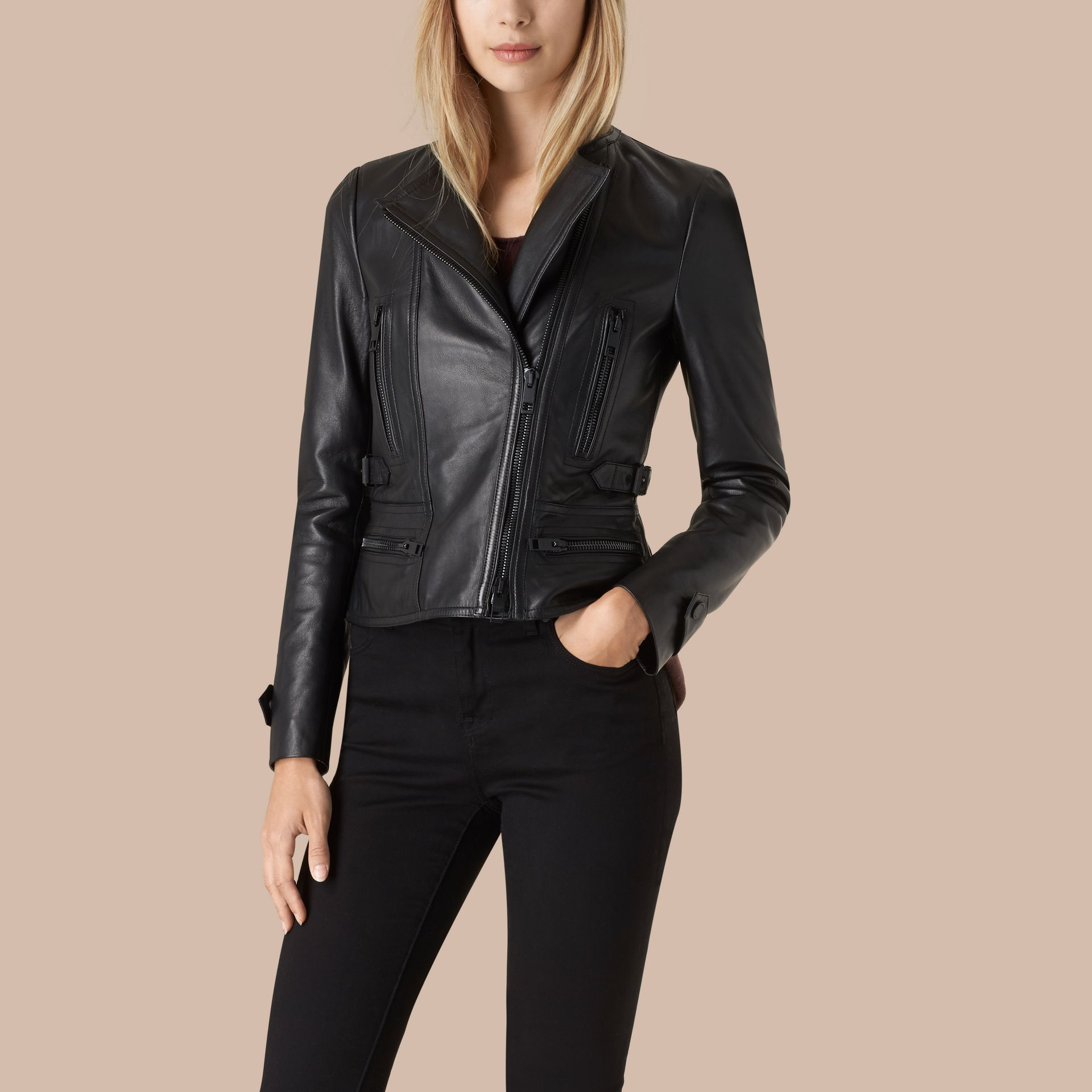 Black Nappa Leather Biker Jacket - gallery image 1