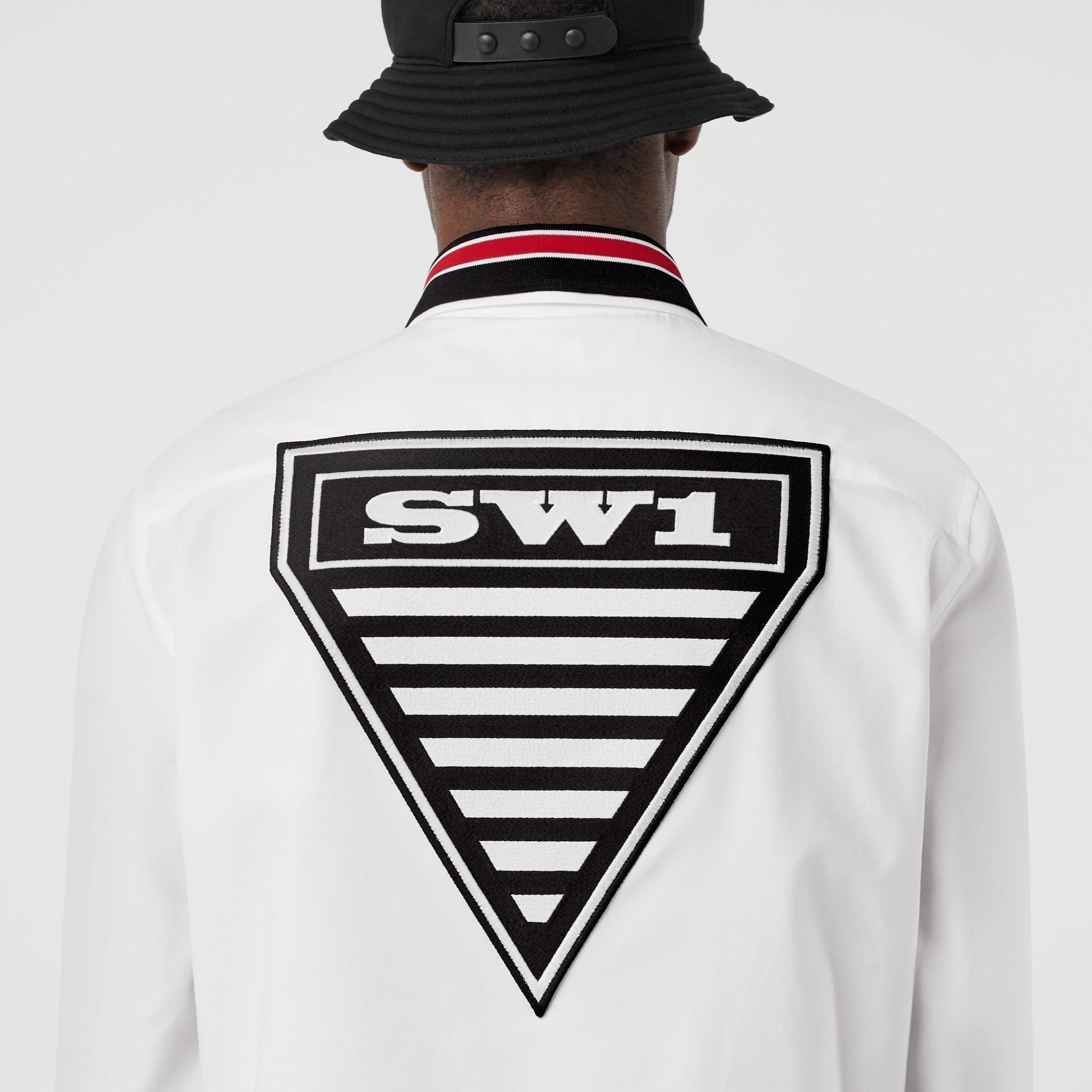 Camicia Oxford oversize in cotone con logo (Bianco) - Uomo | Burberry - immagine della galleria 4