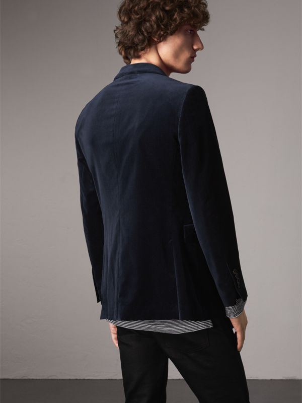 Soho Fit Velvet Tailored Jacket in Navy - Men | Burberry - cell image 2