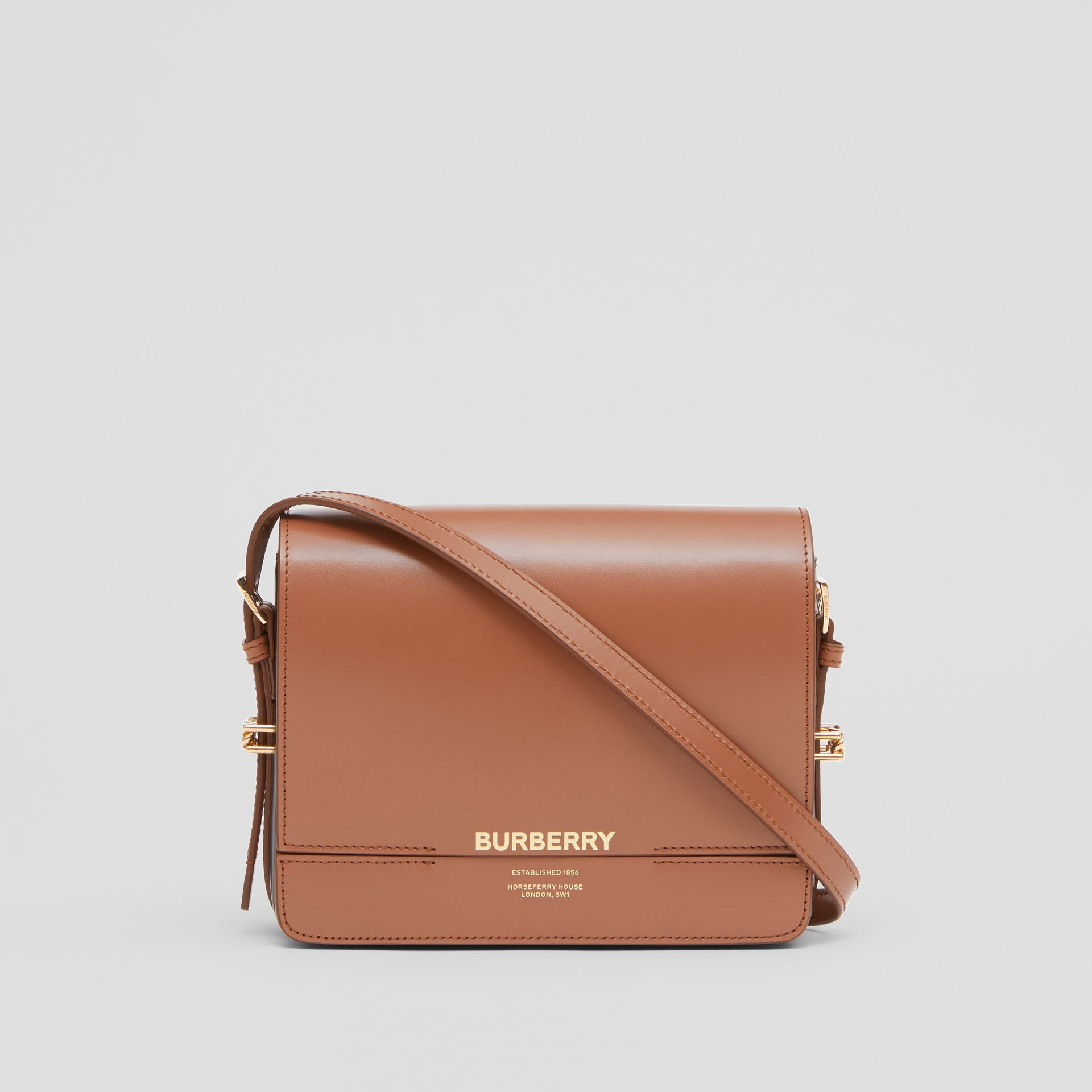 Small Two-tone Leather Grace Bag in Malt Brown/black - Women | Burberry - gallery image 0