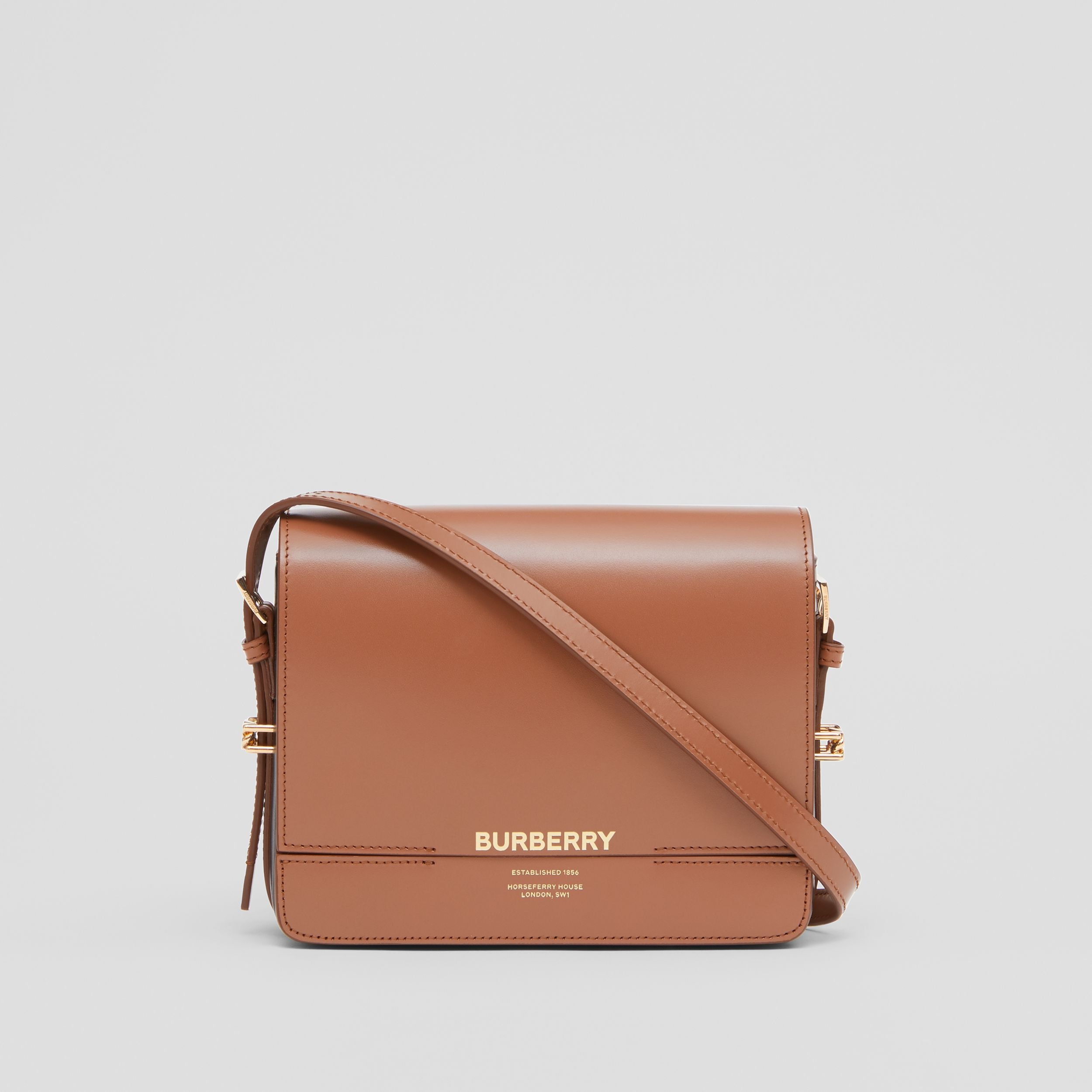 Small Two-tone Leather Grace Bag in Malt Brown/black | Burberry - 1