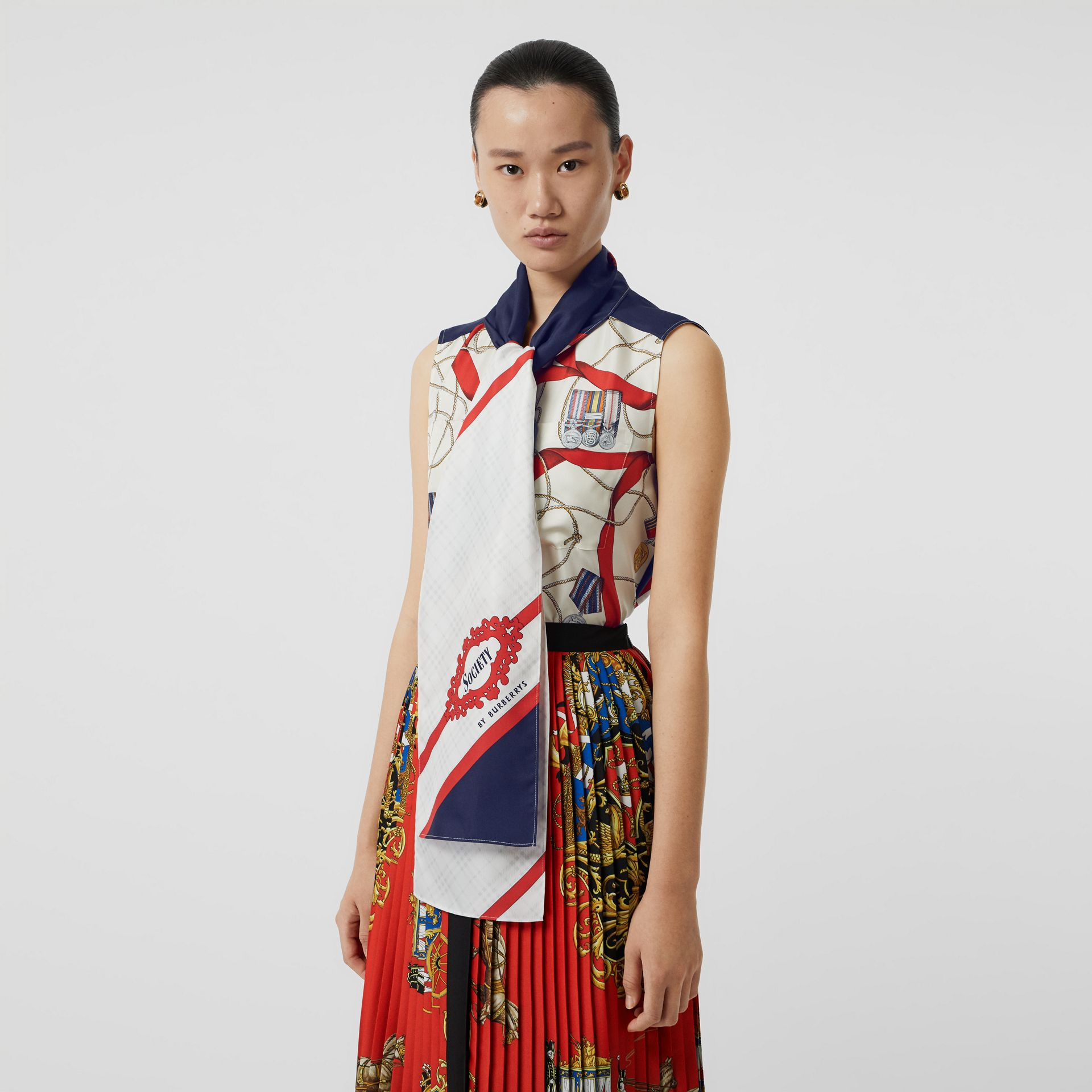 Sleeveless Archive Print Pussy-bow Blouse in Blue - Women | Burberry Singapore - gallery image 5