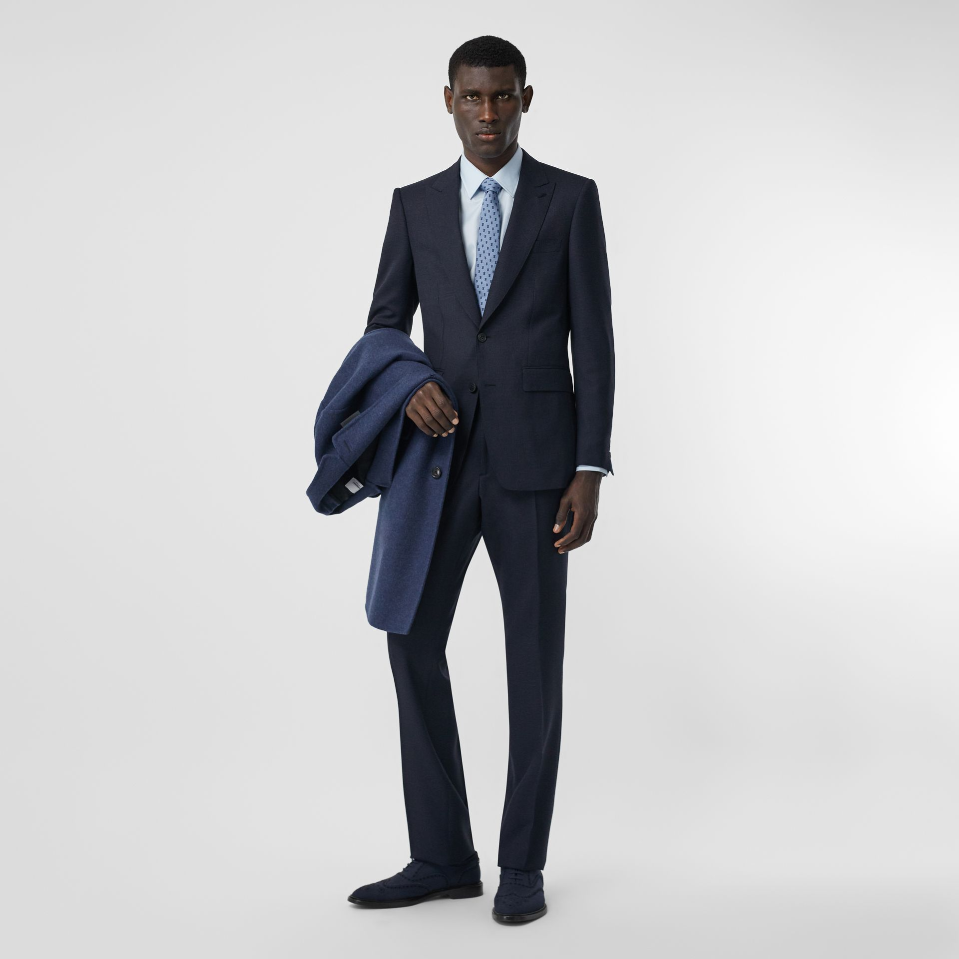 English Fit Puppytooth Check Wool Suit in Dark Navy - Men | Burberry - gallery image 0