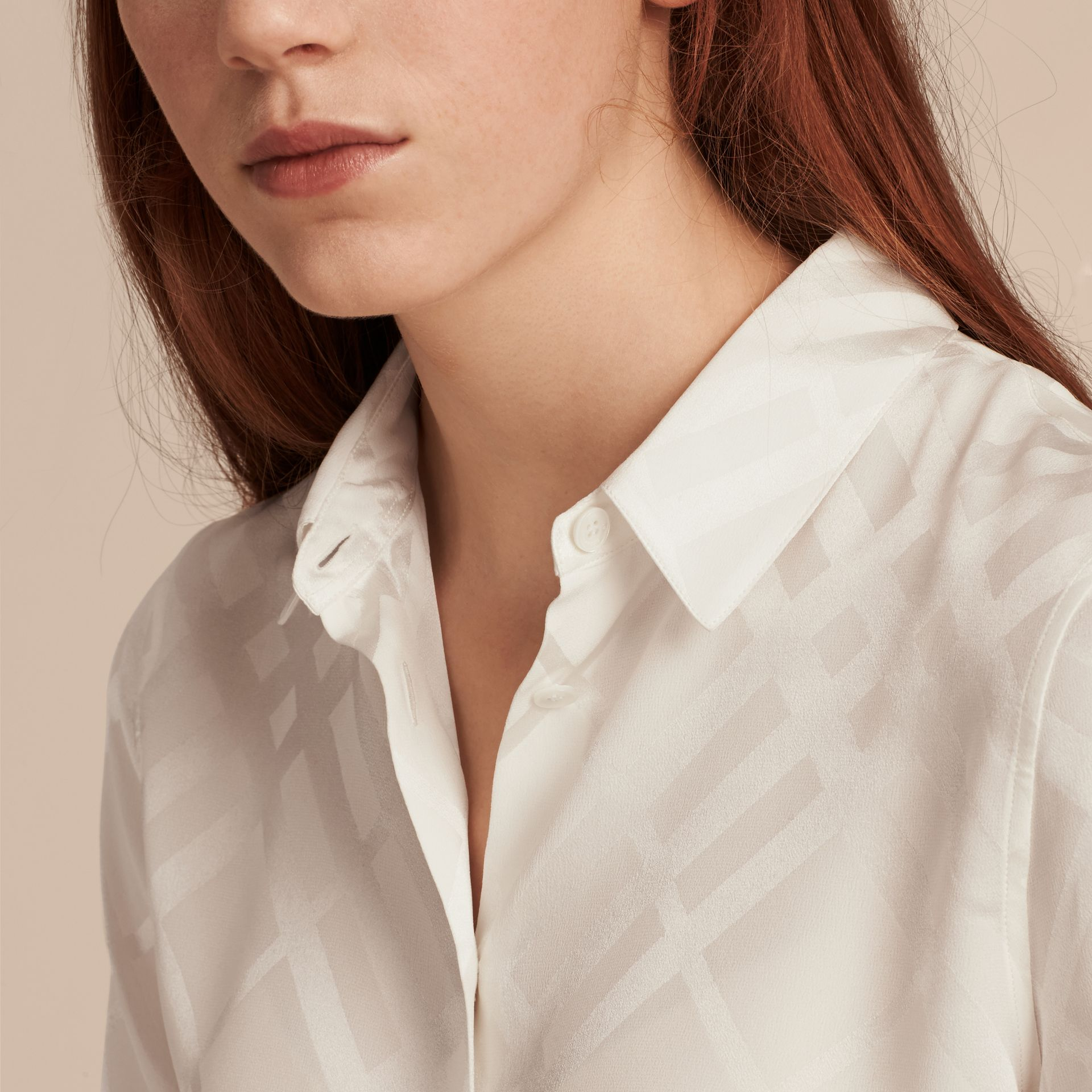 Tonal Check Silk Shirt White - gallery image 5