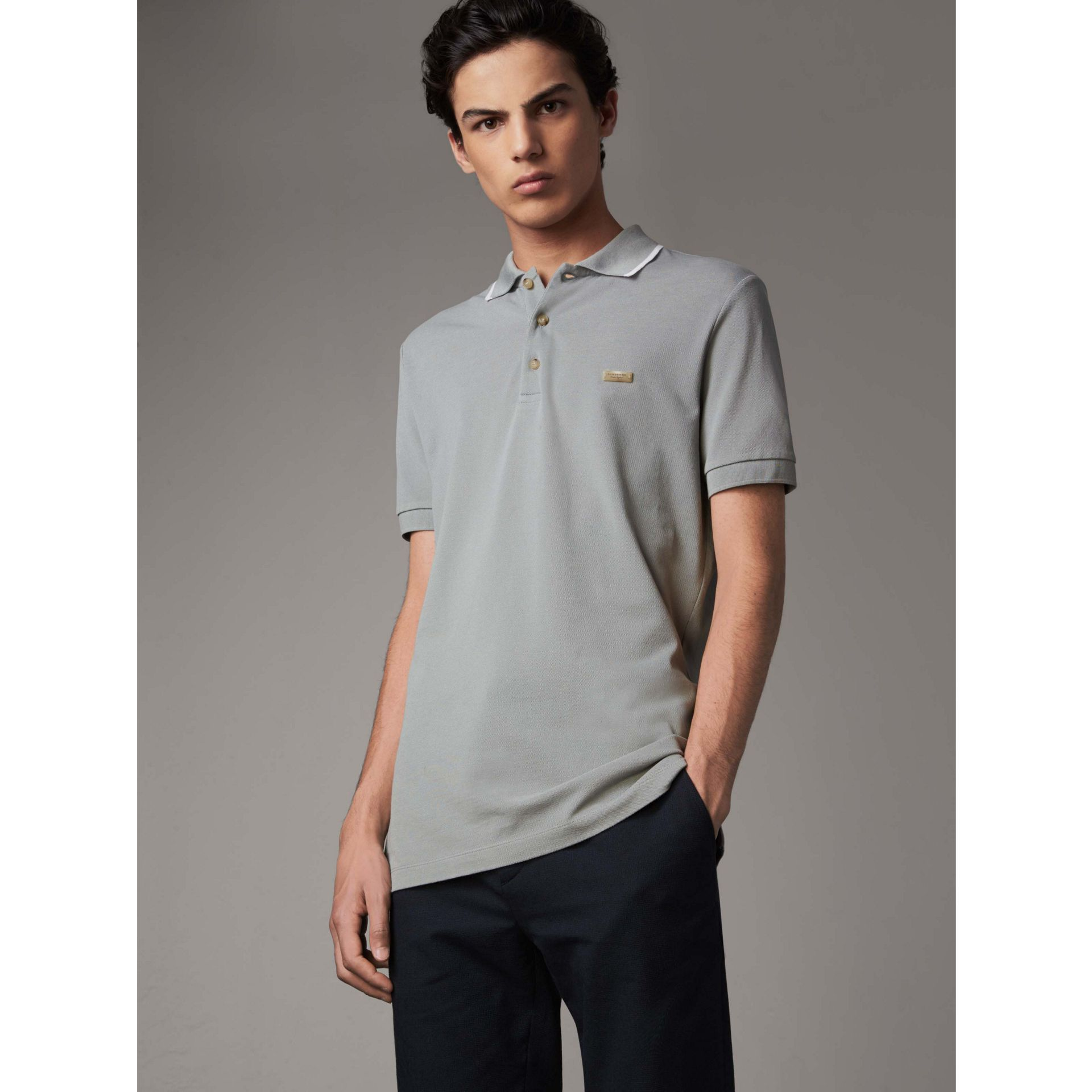 Tipped Collar Cotton Piqué Polo Shirt in Mist Grey - Men | Burberry - gallery image 1