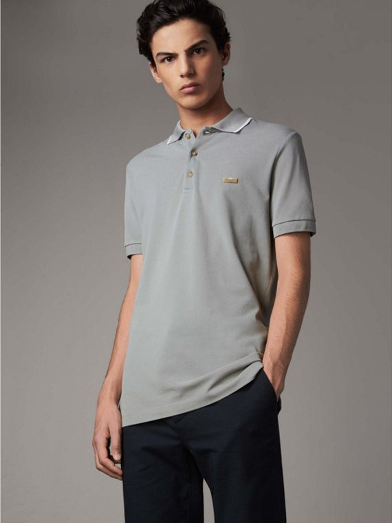 Tipped Collar Cotton Piqué Polo Shirt in Mist Grey - Men | Burberry