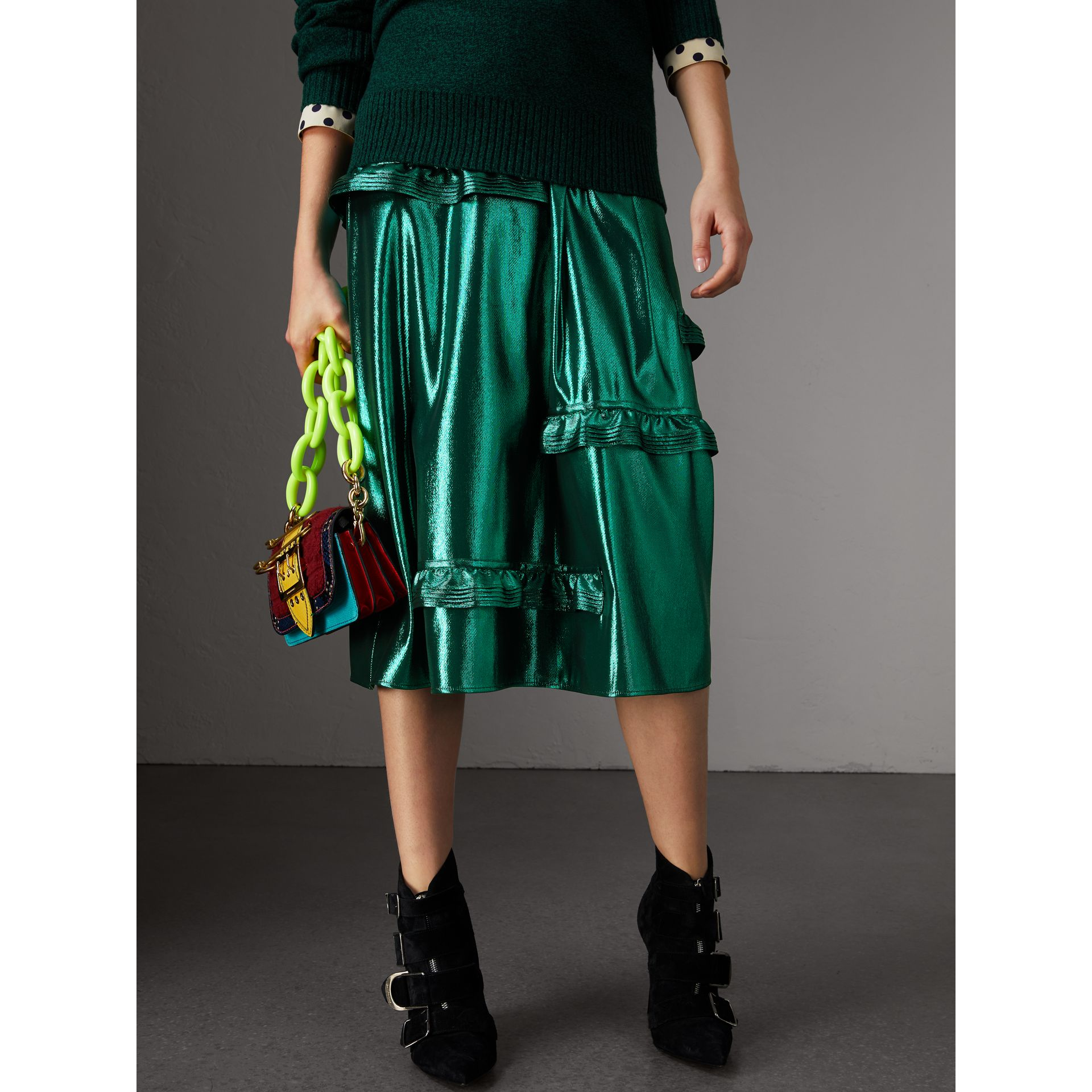 Ruffle Detail Lamé Skirt – Online Exclusive in Turquoise - Women | Burberry - gallery image 4