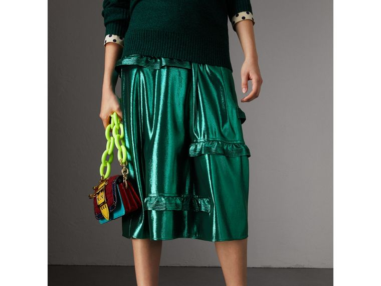 Ruffle Detail Lamé Skirt – Online Exclusive in Turquoise - Women | Burberry - cell image 4