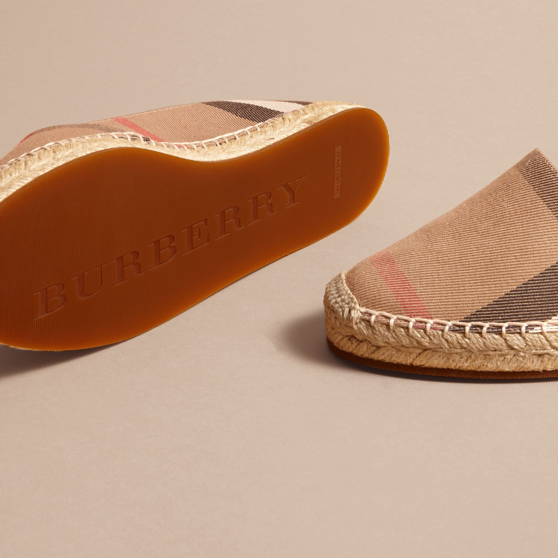 Leather Trim Canvas Check Espadrilles in Classic - Women | Burberry Canada - gallery image 4