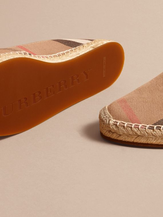 Leather Trim Canvas Check Espadrilles in Classic - Women | Burberry United Kingdom - cell image 3