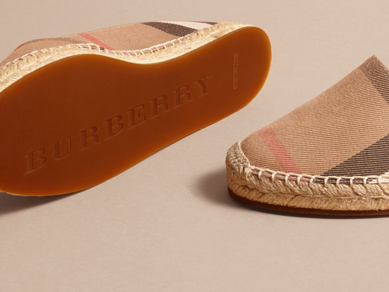 Leather Trim Canvas Check Espadrilles - cell image 4