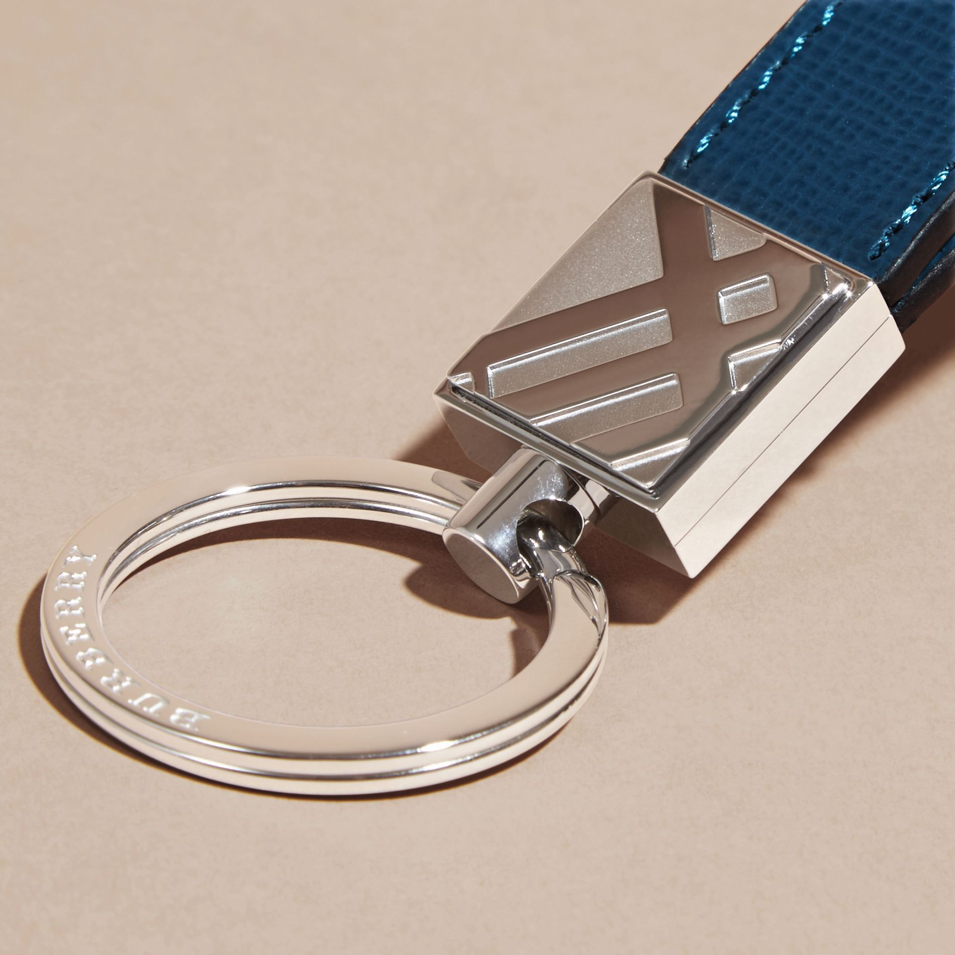 Mineral blue London Leather Key Ring Mineral Blue - gallery image 2