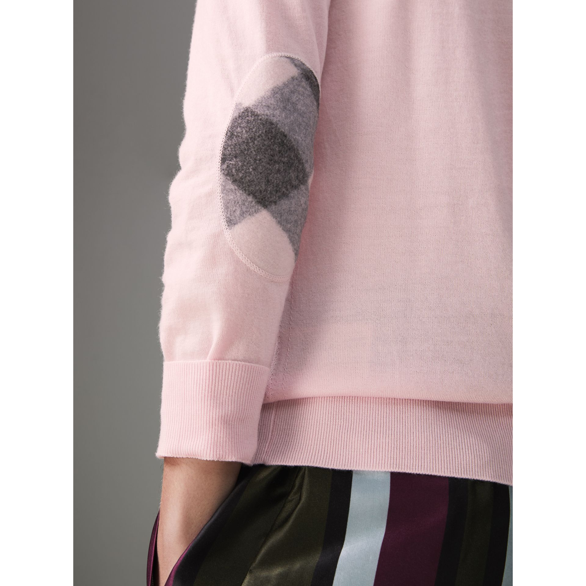 Check Elbow Detail Merino Wool Sweater in Light Pink - Women | Burberry United States - gallery image 1