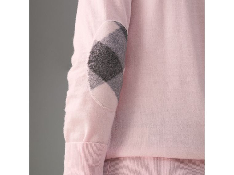 Check Elbow Detail Merino Wool Sweater in Light Pink - Women | Burberry United States - cell image 1