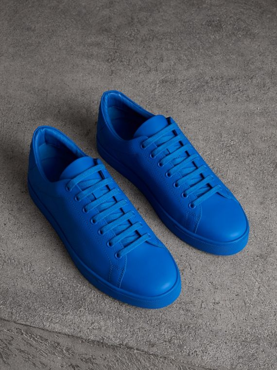 Perforated Check Leather Sneakers in Bright Sky Blue
