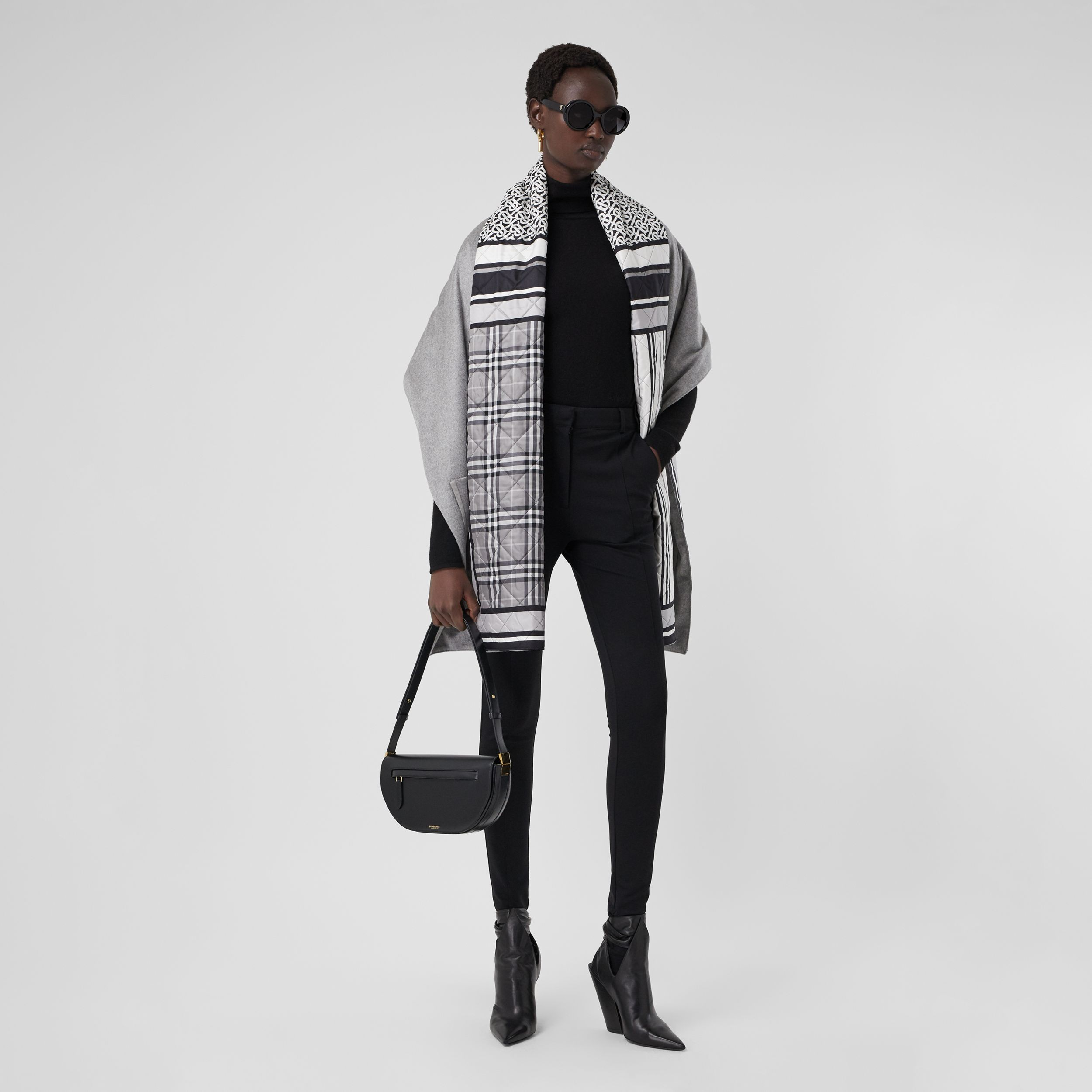 Montage Print Silk-lined Wool Cashmere Cape in Monochrome - Women | Burberry Singapore - 1