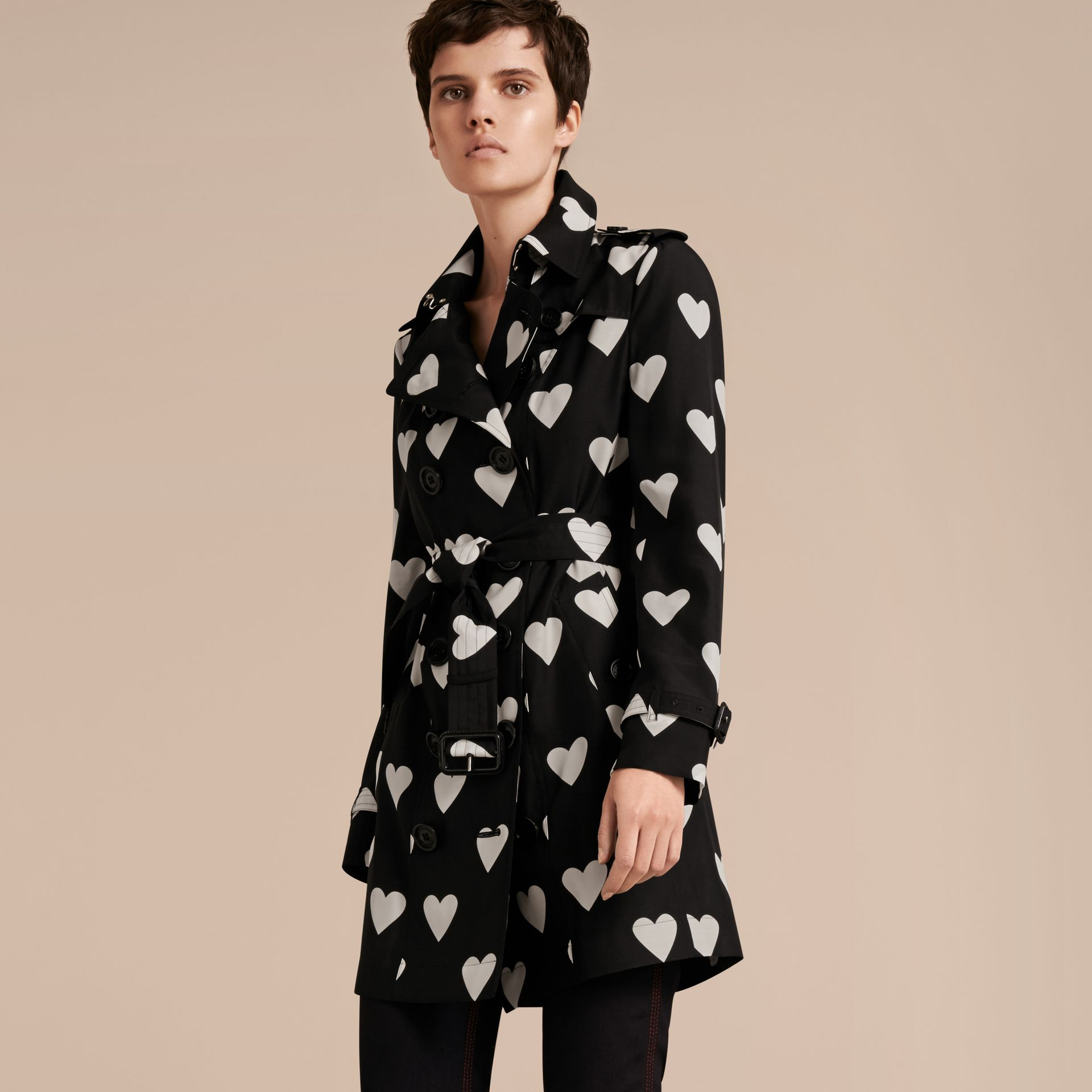 Black / white Lightweight Heart Print Silk Wool Trench Coat - gallery image 8
