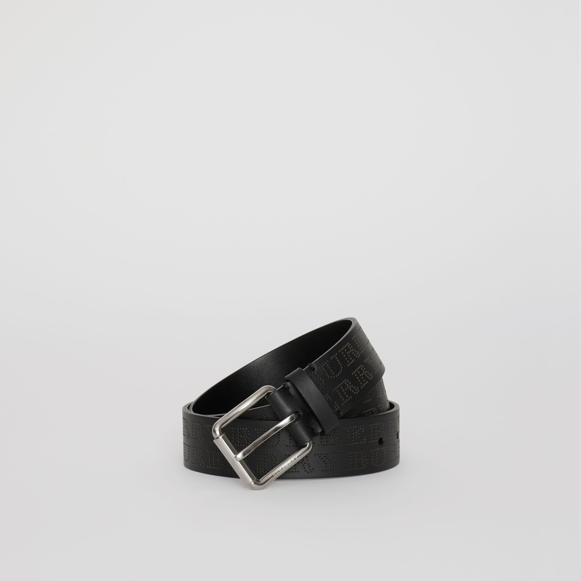 Perforated Logo Leather Belt in Black - Men | Burberry - gallery image 0