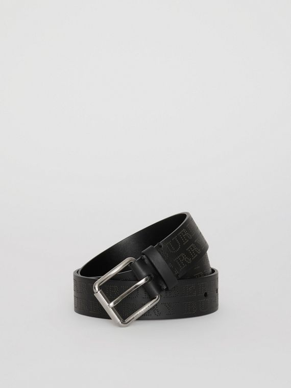 Perforated Logo Leather Belt in Black