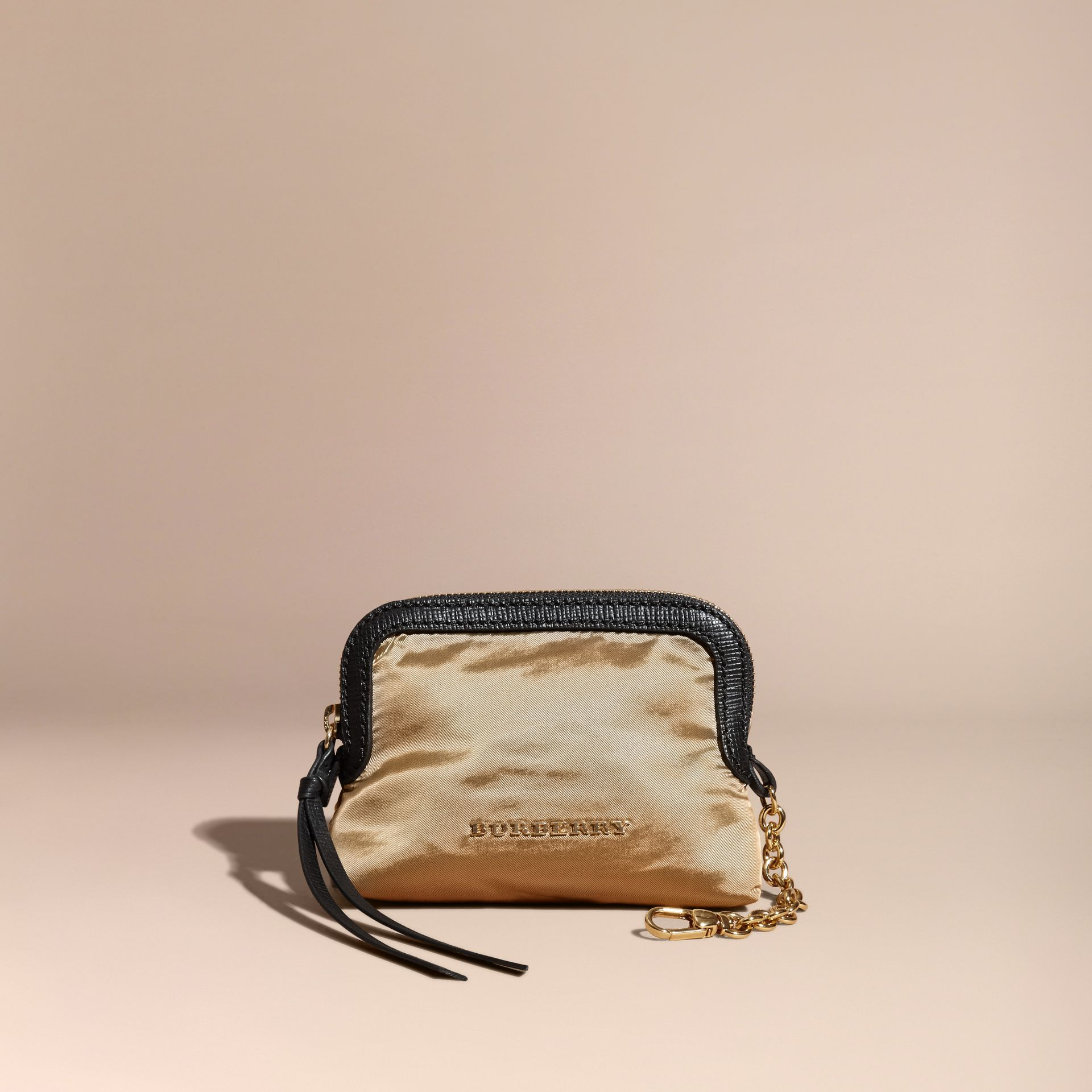 Small Zip-top Leather-trimmed Technical Nylon Pouch - Women | Burberry - gallery image 5
