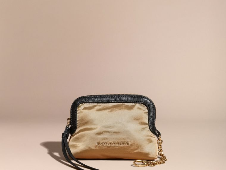Small Zip-top Leather-trimmed Technical Nylon Pouch - cell image 4