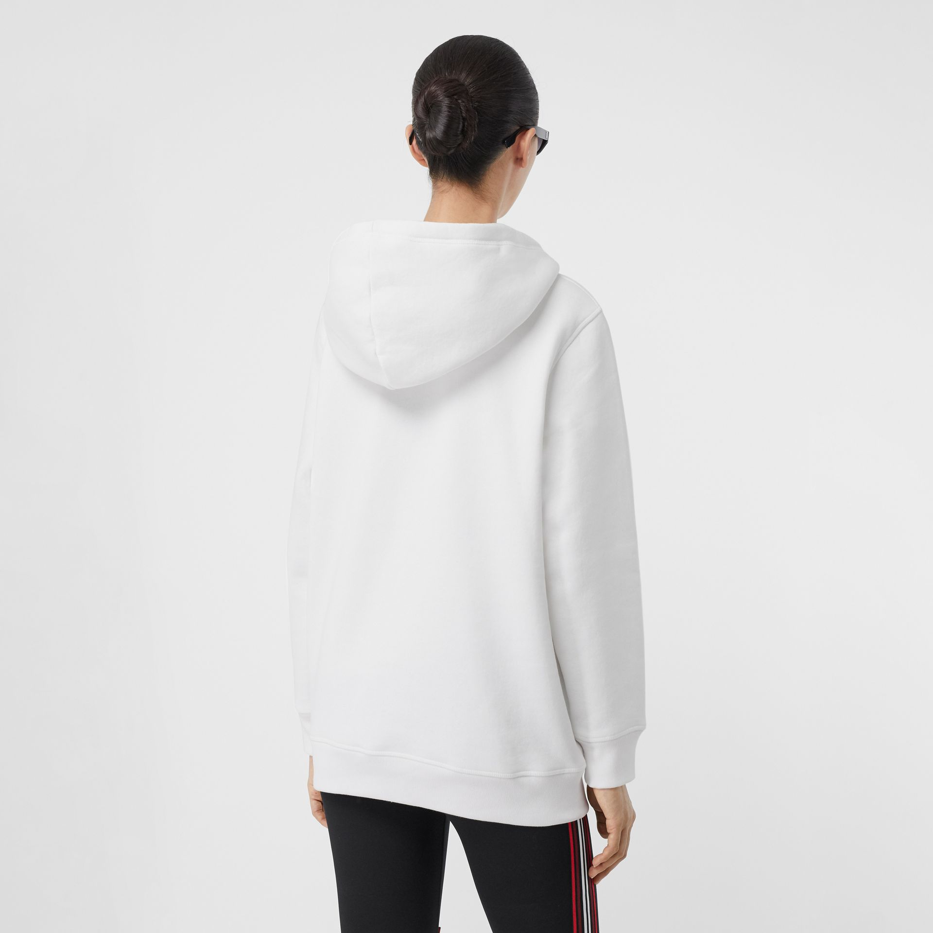 Embroidered Archive Logo Jersey Hoodie in White - Women | Burberry United Kingdom - gallery image 2
