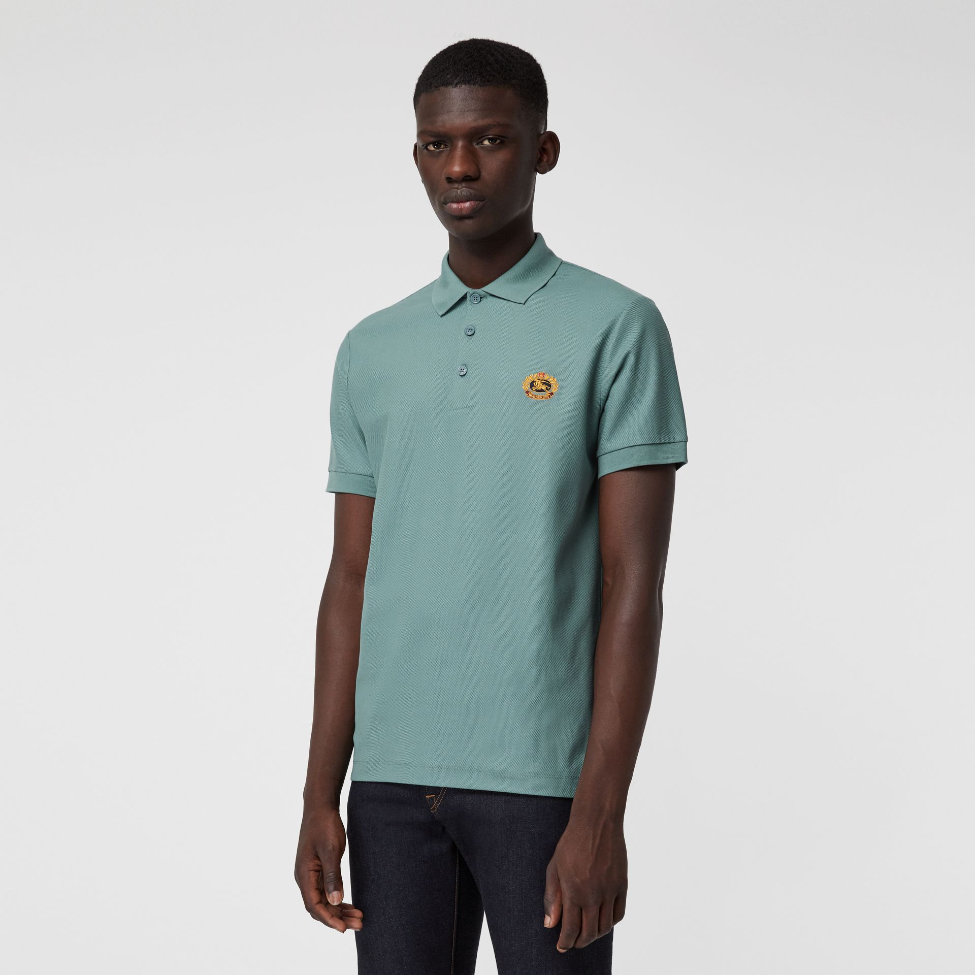 Archive Logo Cotton Piqué Polo Shirt in Dusty Teal - Men | Burberry Canada - gallery image 0