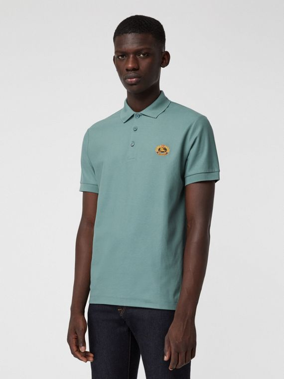 Archive Logo Cotton Piqué Polo Shirt in Dusty Teal