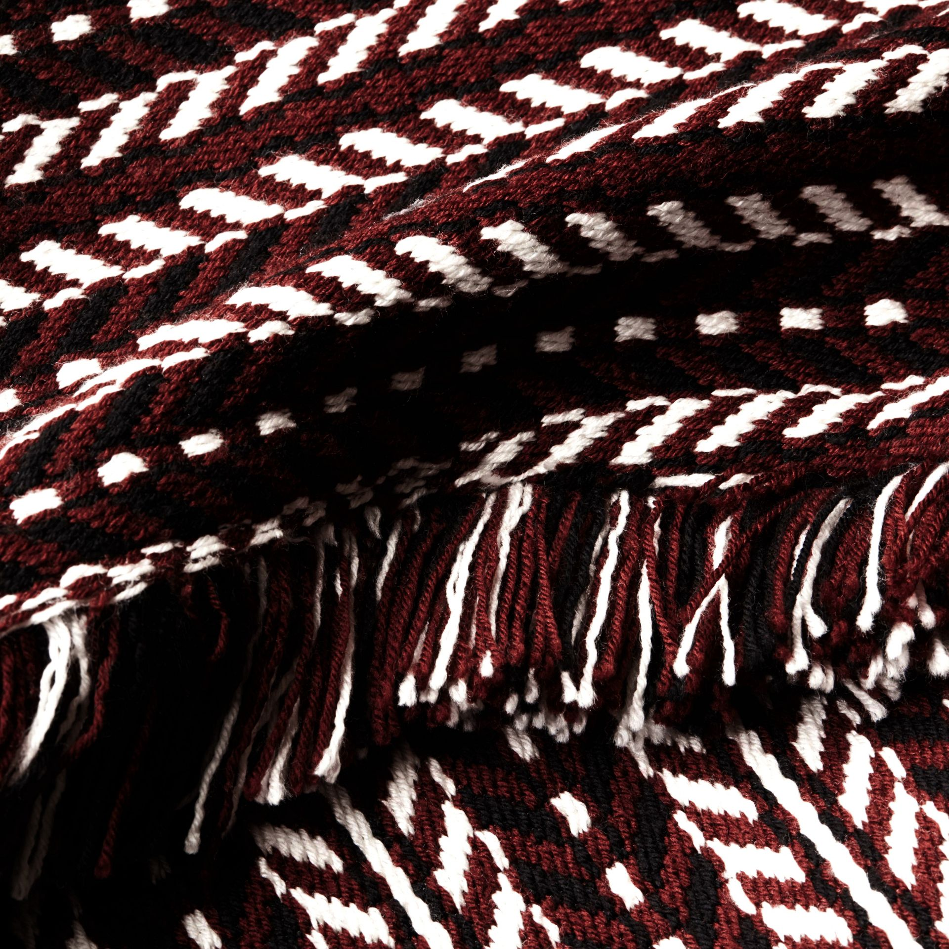 Marrone ruggine Cappotto a mantella con frange in lana e seta - immagine della galleria 2