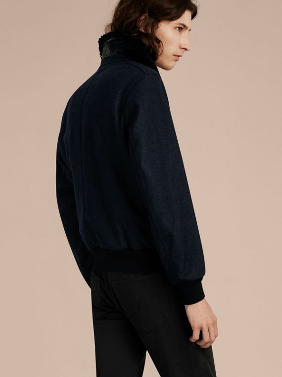 Navy melange Lightweight Wool Bomber Jacket with Detachable Shearling Top Collar - cell image 2