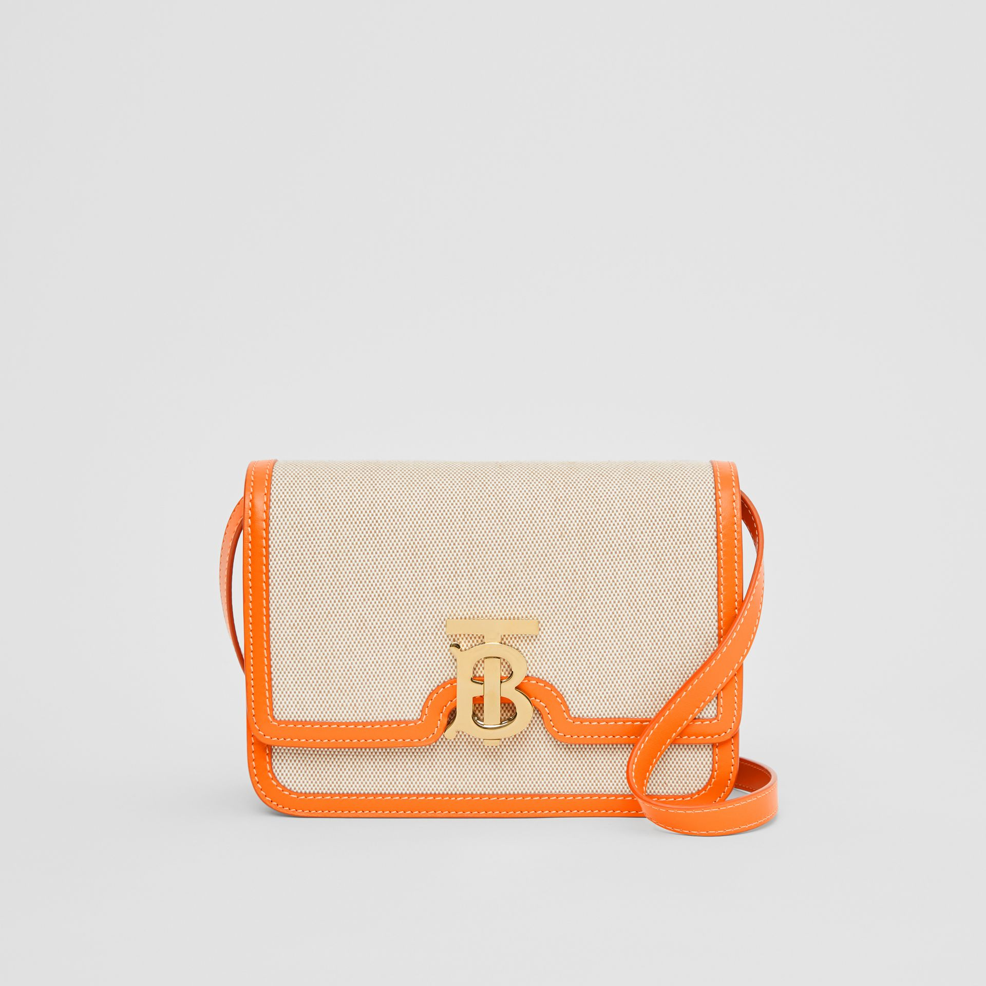Small Two-tone Canvas and Leather TB Bag in Orange - Women | Burberry Australia - gallery image 0