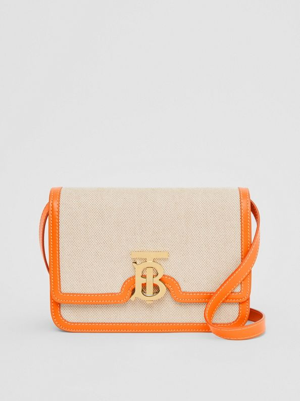 Small Two-tone Canvas and Leather TB Bag in Orange
