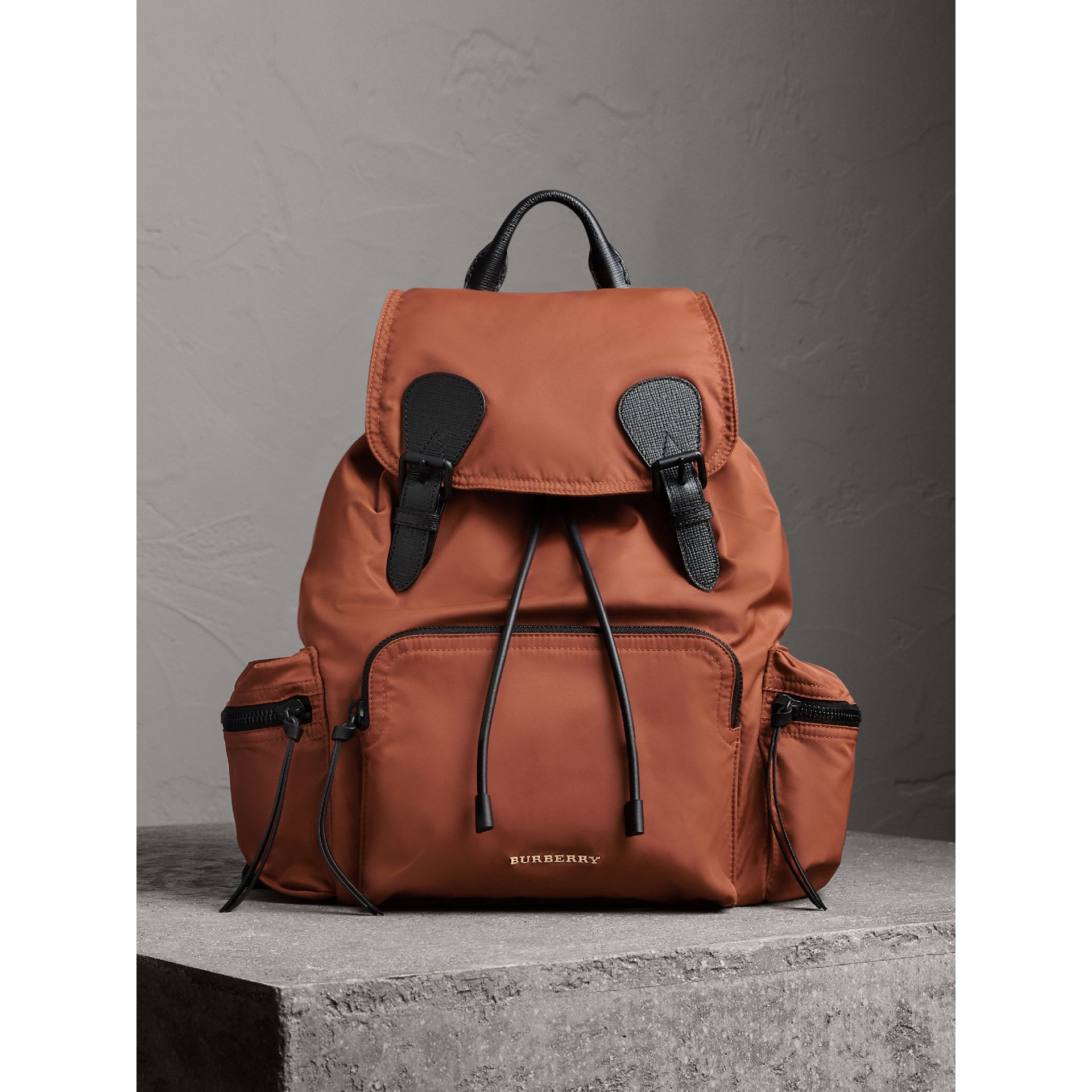 The Large Rucksack in Technical Nylon and Leather in Redwood - Men | Burberry United Kingdom - gallery image 6