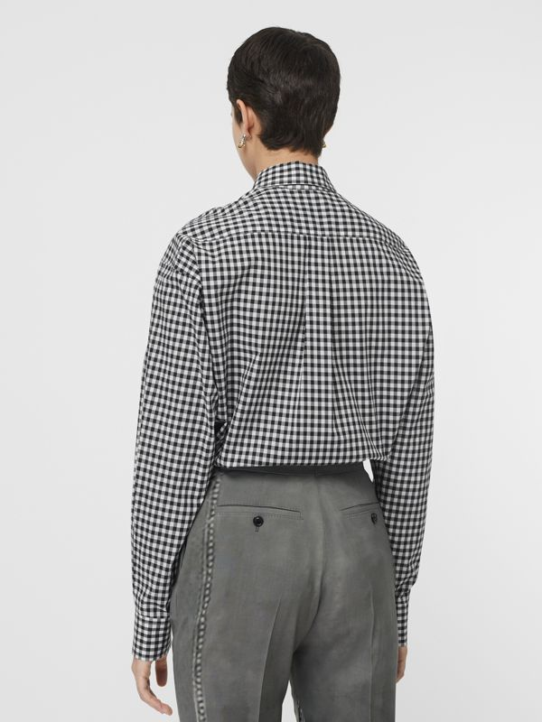 Puff-sleeve Gingham Cotton Oversized Shirt in Black/white - Women | Burberry Australia - cell image 2