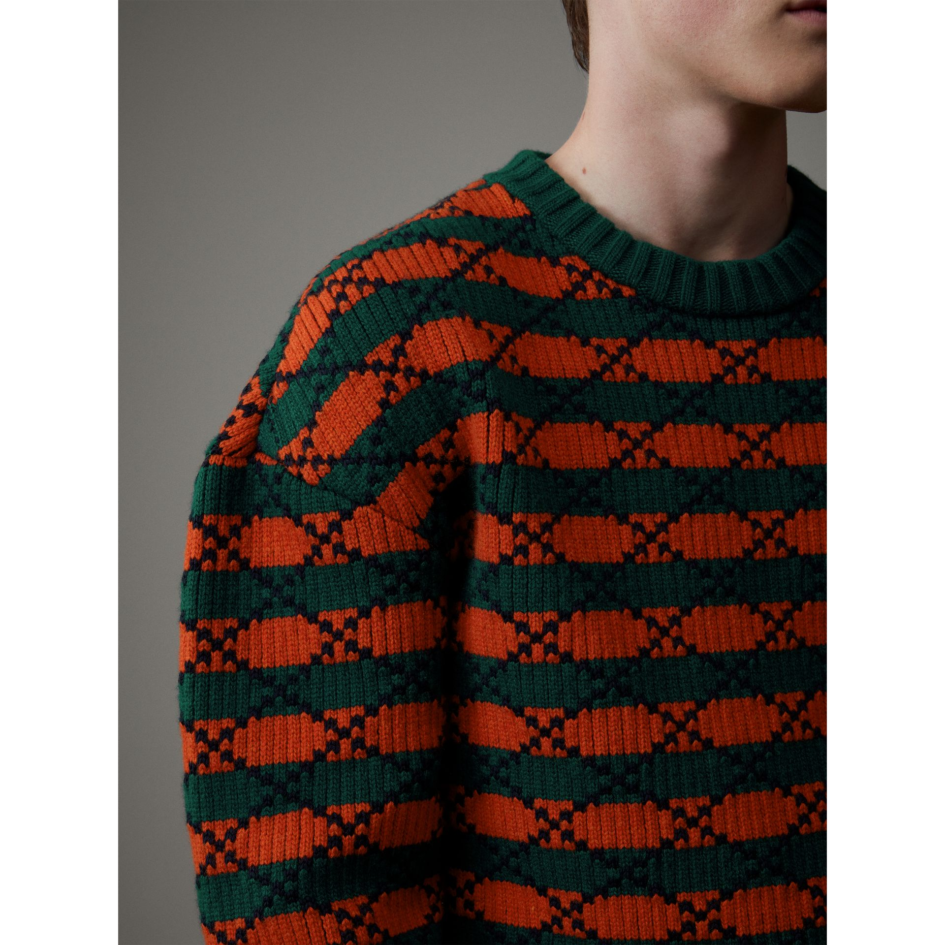 Geometric Wool Cotton Blend Sculptural Sweater in Multicolour - Men | Burberry - gallery image 2