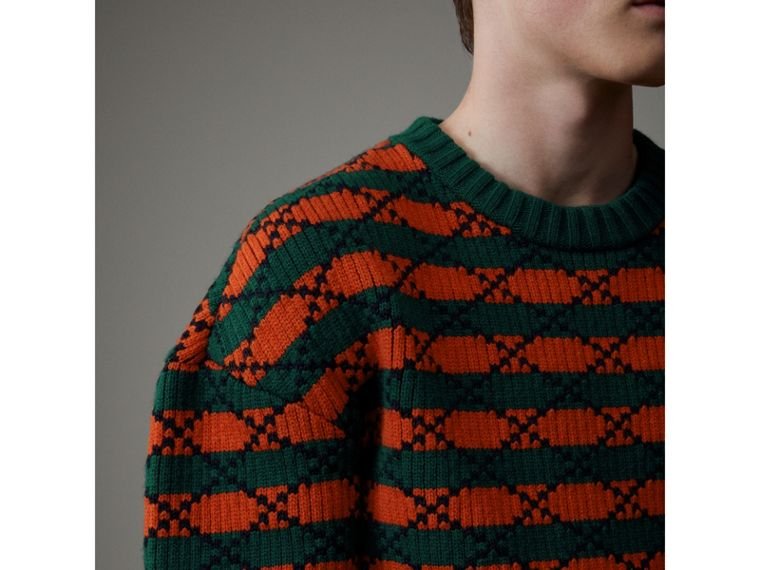 Geometric Wool Cotton Blend Sculptural Sweater in Multicolour - Men | Burberry - cell image 1