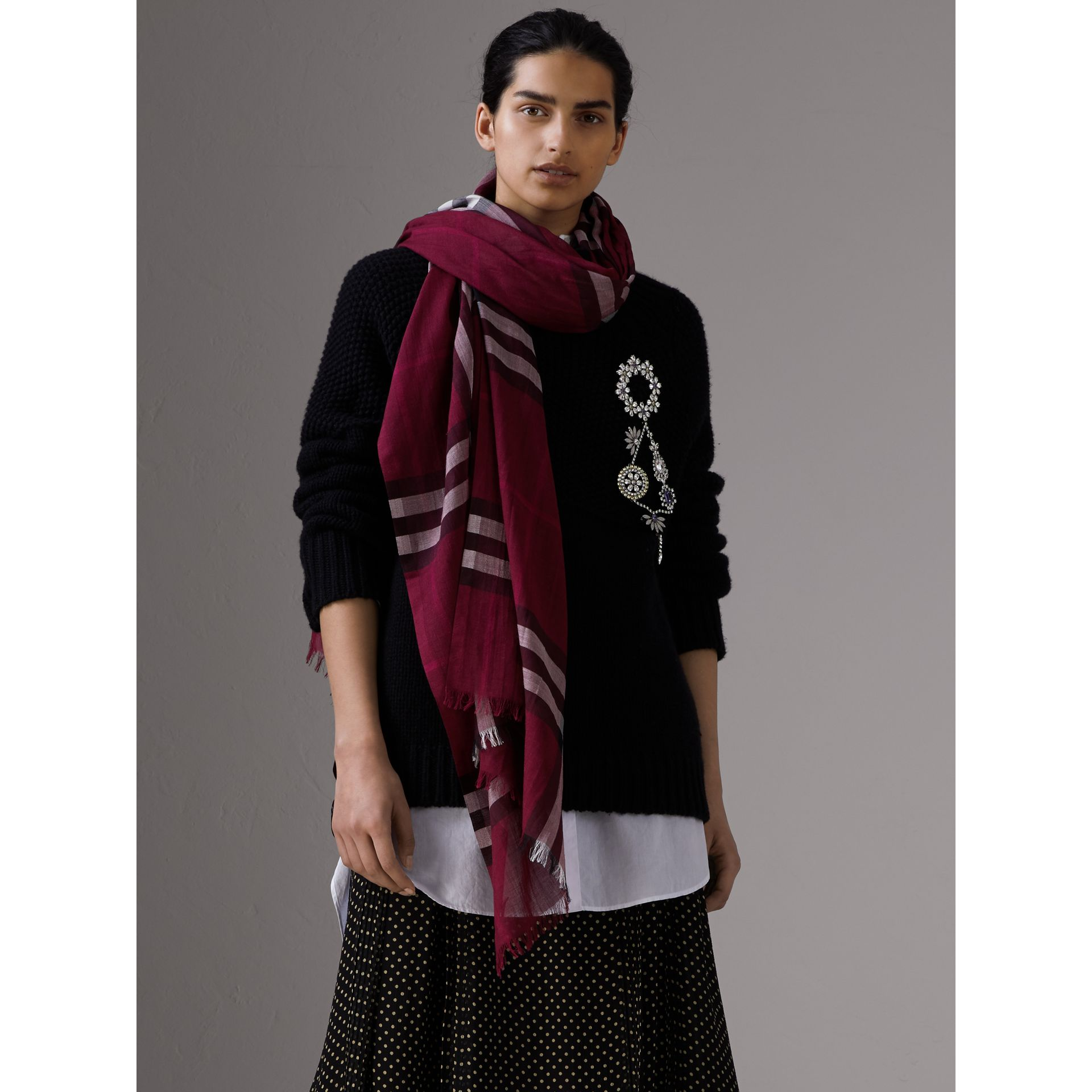Lightweight Check Wool and Silk Scarf in Plum | Burberry Canada - gallery image 2