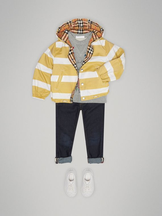 Reversible Stripe and Vintage Check Cotton Jacket in Larch Yellow/whte | Burberry - cell image 2