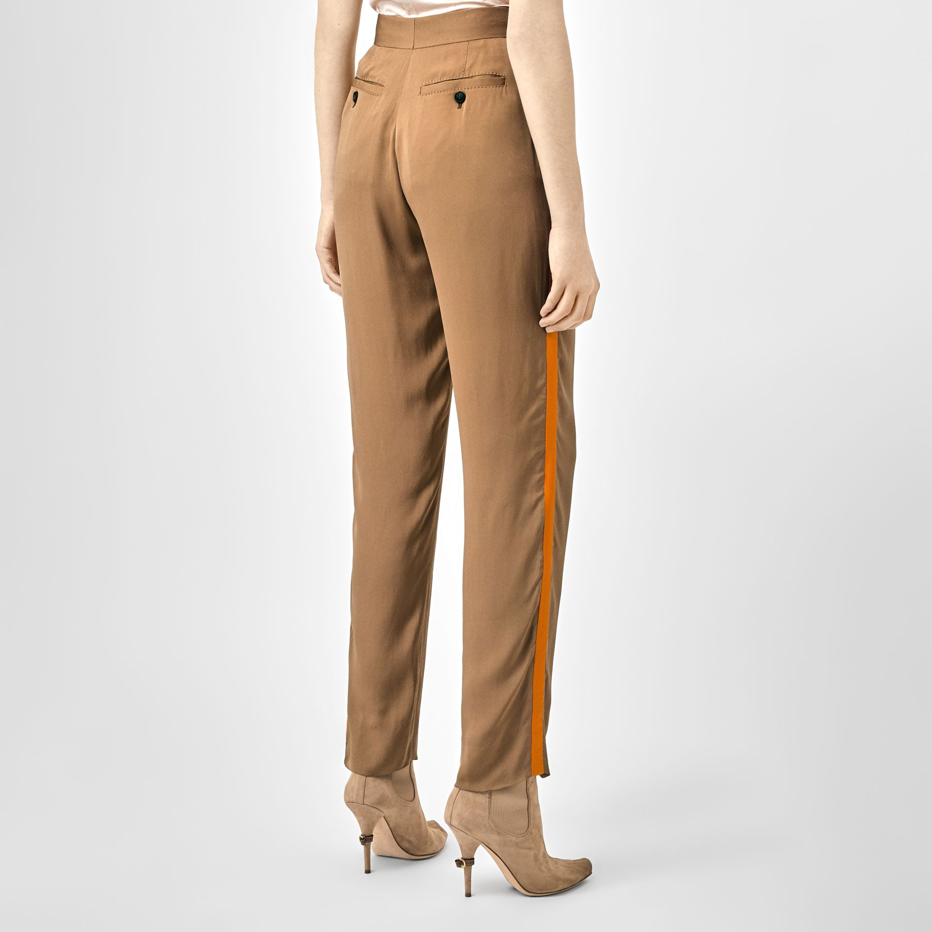 Satin Stripe Crepe Tailored Trousers in Driftwood - Women | Burberry - gallery image 2