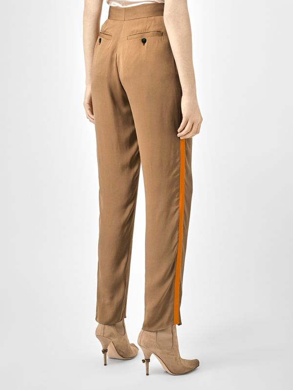Satin Stripe Crepe Tailored Trousers in Driftwood - Women | Burberry United States - cell image 2