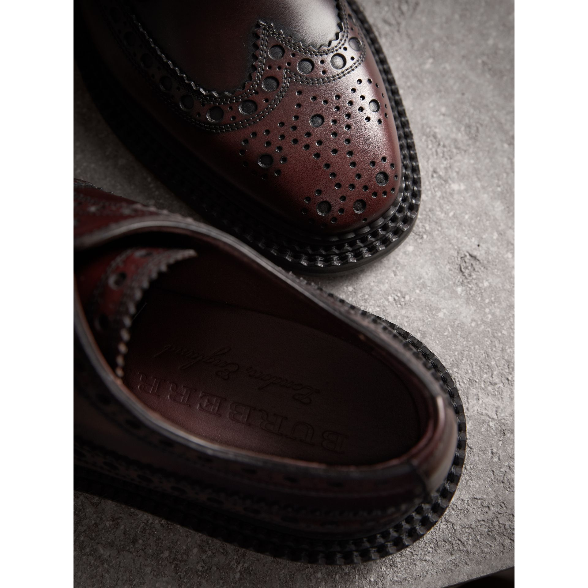 Leather Derby Brogues in Bordeaux - Men | Burberry - gallery image 2