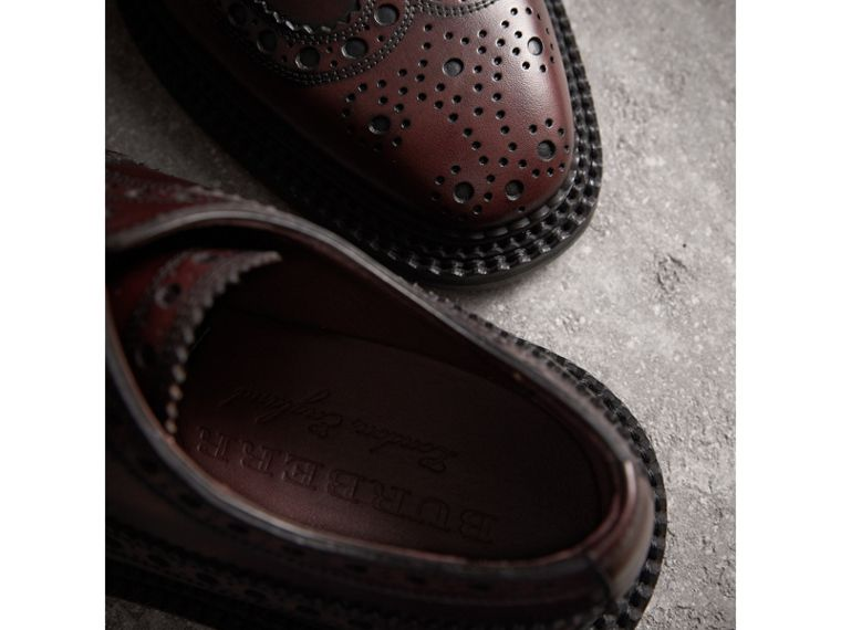 Leather Derby Brogues in Bordeaux - Men | Burberry - cell image 1