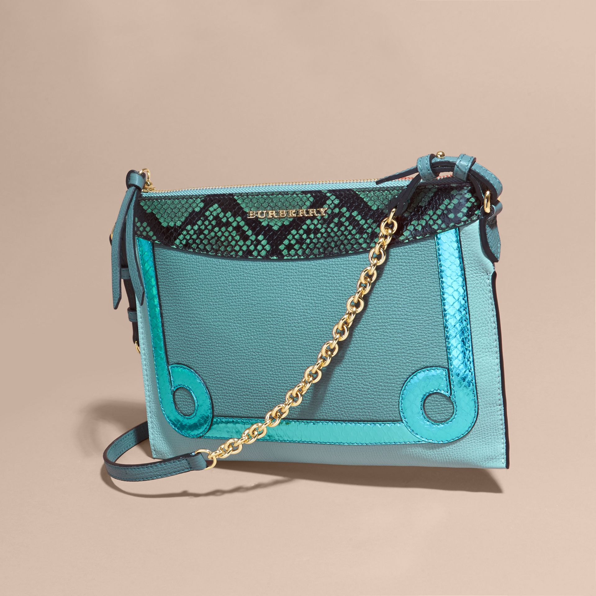 Celadon blue Leather and Snakeskin Clutch Bag Celadon Blue - gallery image 8