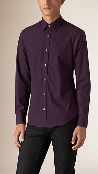 Camicia in popeline di cotone stretch