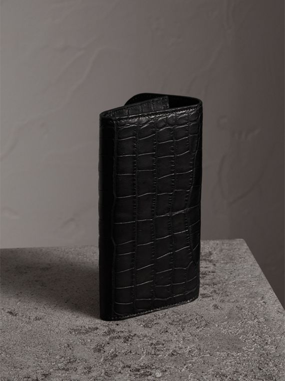 Alligator and Leather Continental Wallet in Black - Women | Burberry United States - cell image 2