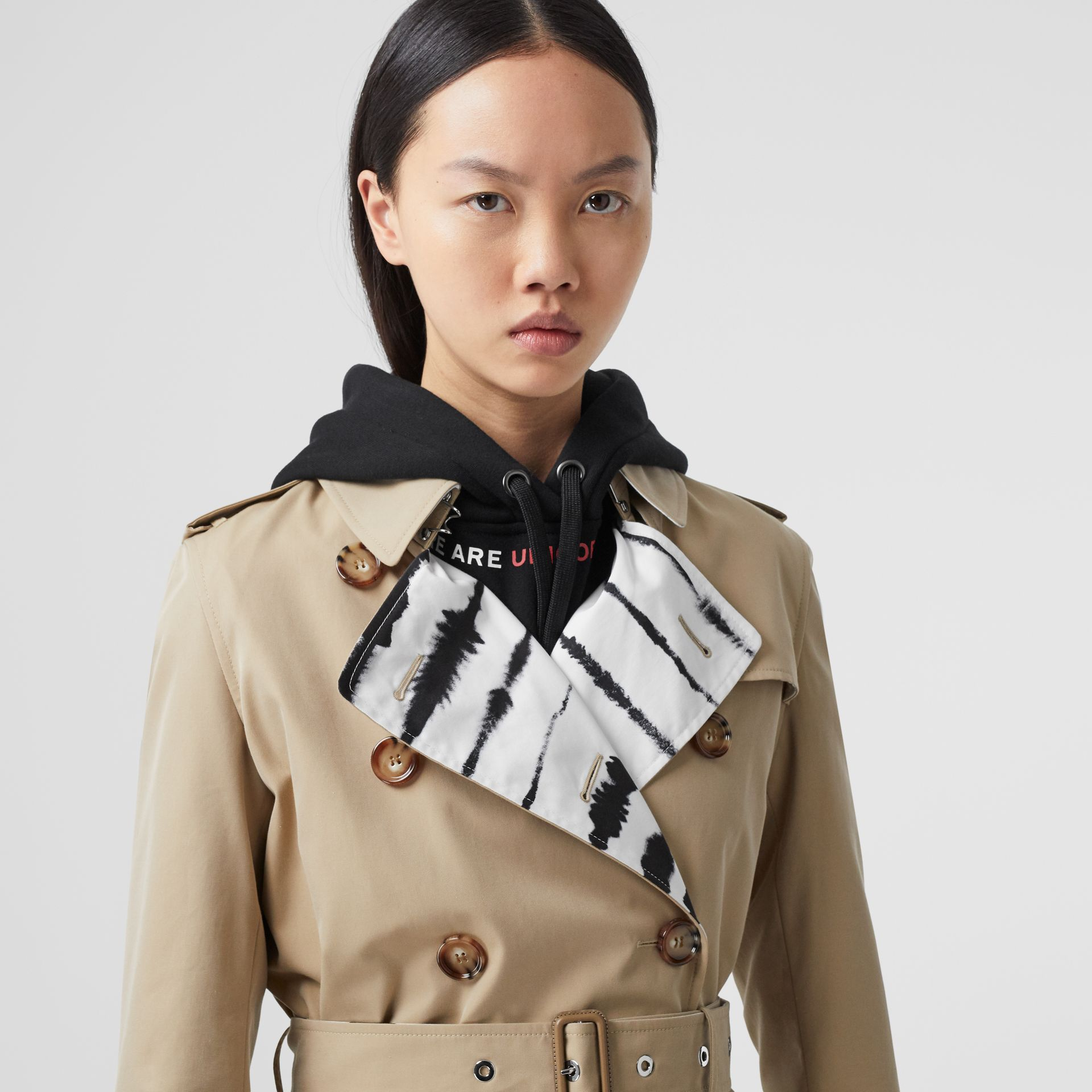 Watercolour Print-lined Cotton Gabardine Trench Coat in Honey - Women | Burberry - gallery image 1