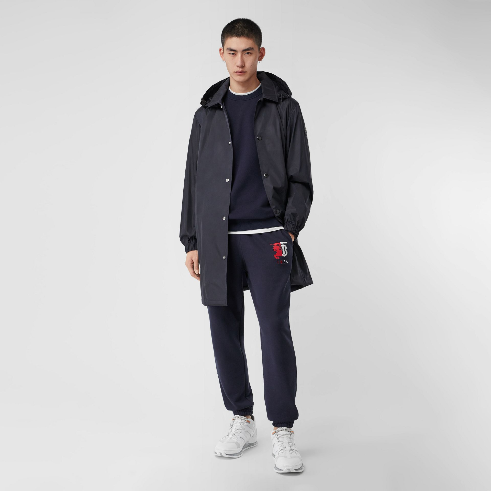 Detachable Hood Nylon Car Coat in Navy - Men | Burberry - gallery image 0