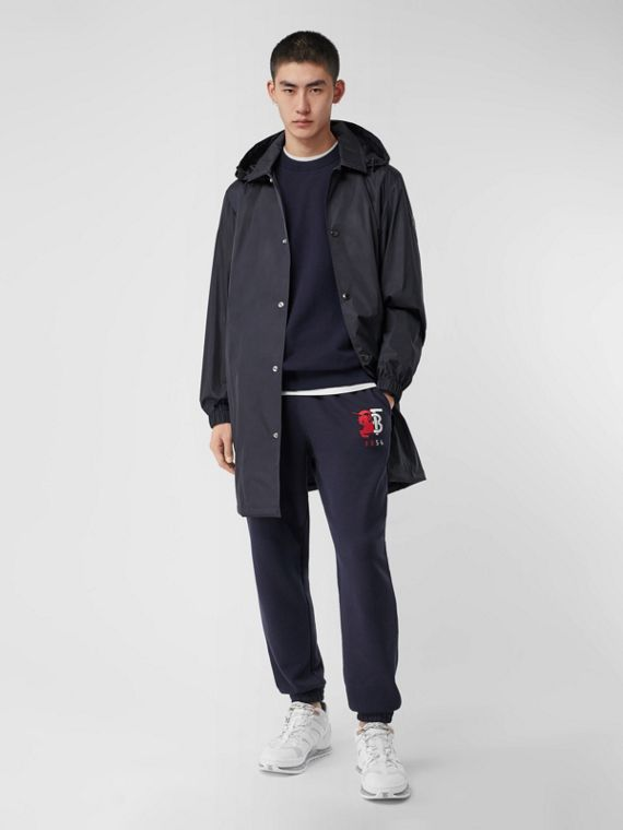Detachable Hood Nylon Car Coat in Navy