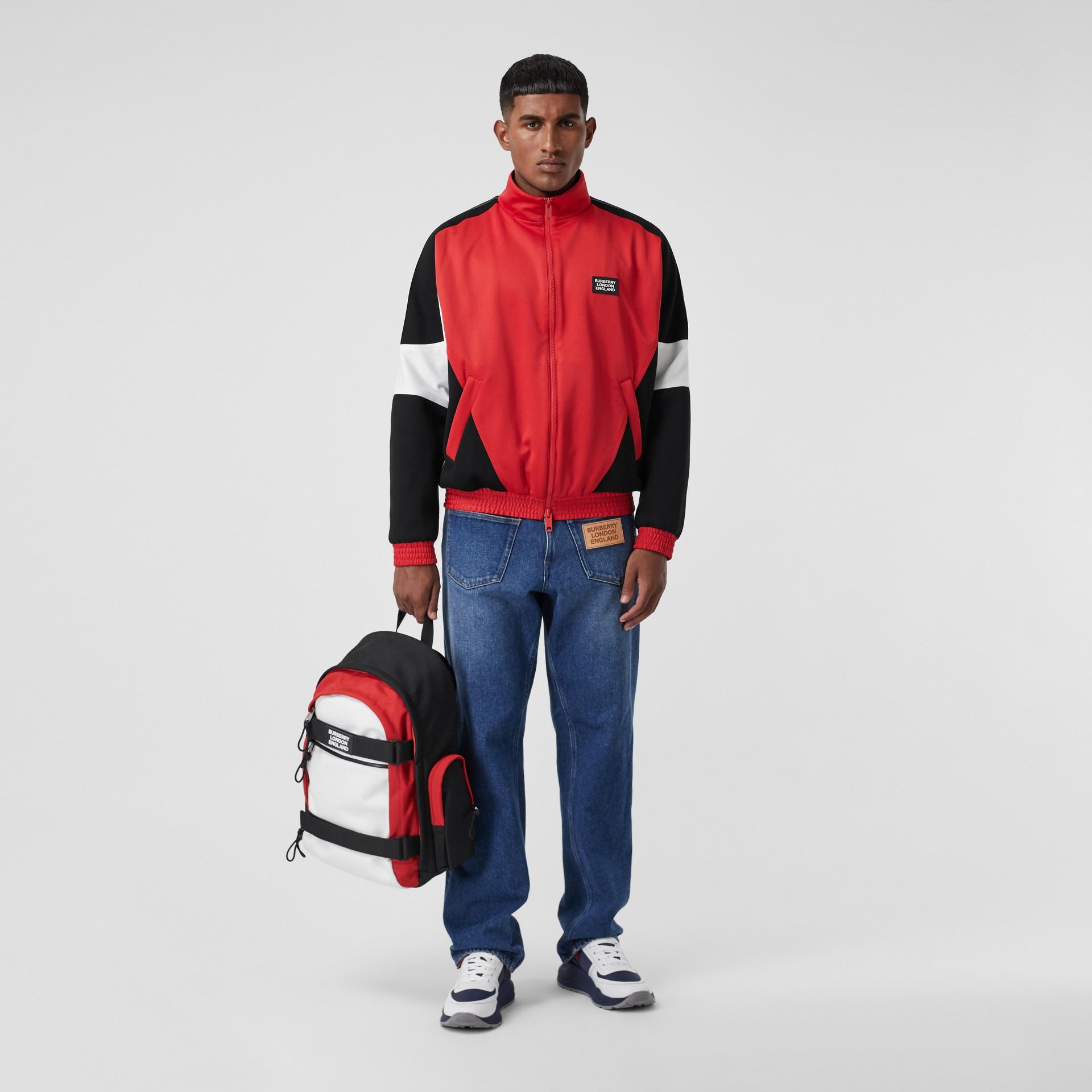 Veste de survêtement en jersey et néoprène avec logo appliqué (Rouge Vif) - Homme | Burberry - photo de la galerie 6