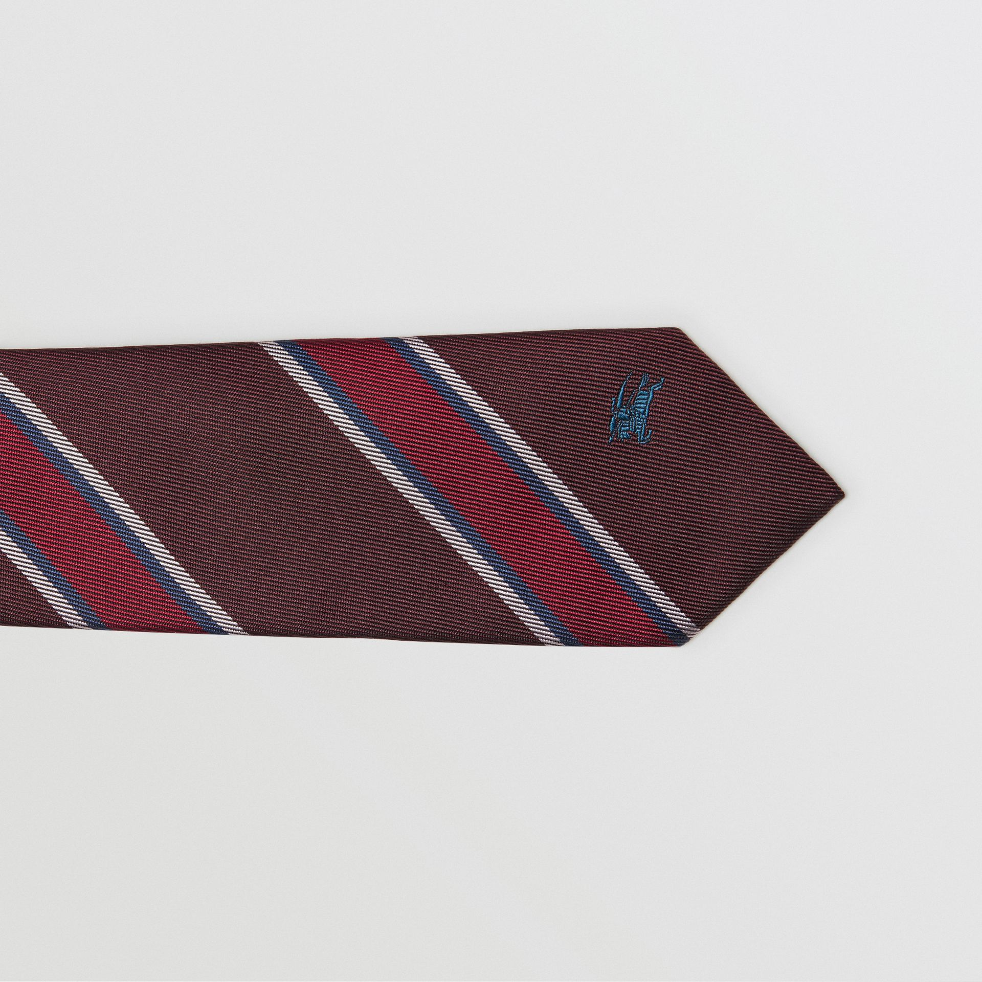 Slim Cut Striped Silk Jacquard Tie in Oxblood - Men | Burberry United Kingdom - gallery image 1